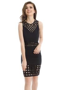 Black Hollow Out Zipper Back Sleeveless Dress
