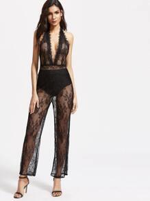 Black Plunge Halter Backless Floral Lace Jumpsuit