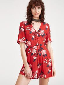 Red Flower Print Button Front Wide Leg Romper