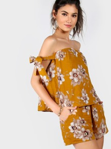 Floral Tie Sleeve Bardot Top And Shorts Co-Ord