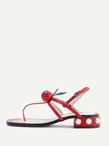 Red Faux Pearl Heeled Thong Sandals With Cherry
