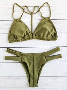 Army Green Braided Strap Triangle Bikini Set