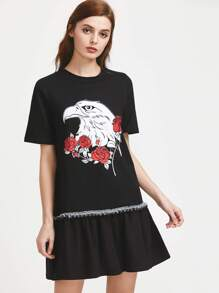 Eagle Print Ruffle Trim Drop Waist Dress