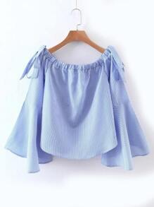 Ruffle Sleeve Boat Neck Vertical Striped Blouse