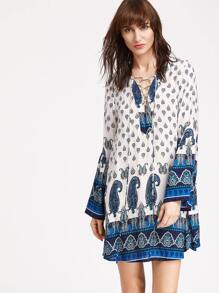 White Paisley Print Lace Up Bell Sleeve Dress