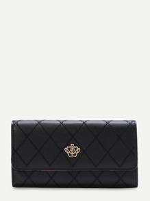 Black Crown Design Fold Wallet