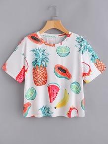 Allover Fruit Print T-shirt