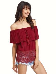 Red Off The Shoulder Tassel Blouse