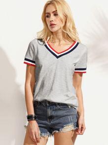 Striped Trim V Neck T-shirt