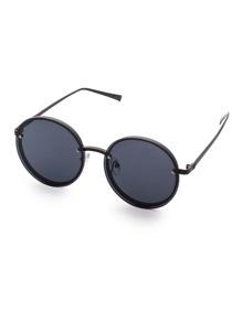 Black Frame Flat Round Lens Sunglasses