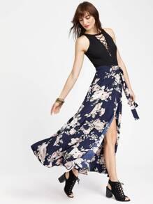 Navy Flower Print Split Wrap Skirt