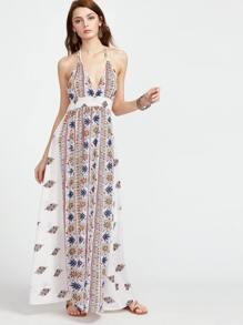 Multicolor Vintage Print Plunge Halter Backless Dress