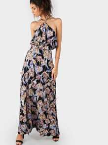Floral Halter Ruffle Dress BLACK MULTI