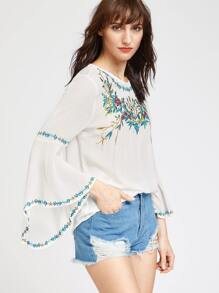 White Bell Sleeve Keyhole Back Embroidered Top
