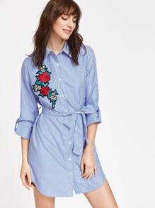 Blue Striped Rose Patch Detail Belted Shirt Dress
