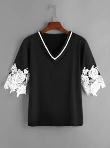 Black V Neck Contrast Crochet Lace T-shirt