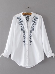 White Embroidery Tie Cuff Single Breasted Blouse
