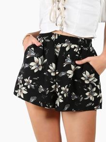 Flower Print Wide Leg Shorts