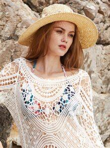 Beige Flower Detail Straw Hat With Bow
