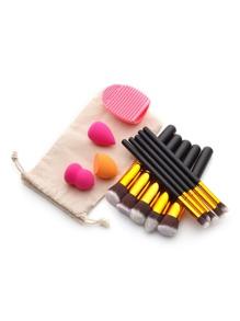 Makeup Tool Set With Puffs And Makeup Brushes