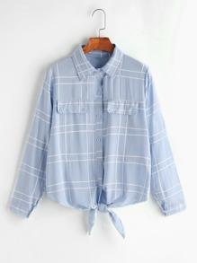 Blue Plaid Knotted Hem Shirt