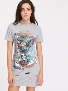 Grey Skull Print Ripped Detail Tee Dress