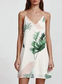 White Tropical Print Double V Neck Cami Dress