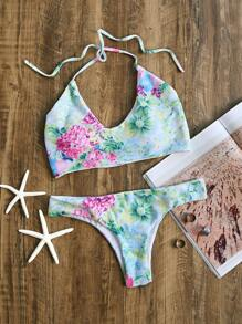Floral Print Halter Bikini Set