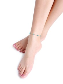 Turquoise Beaded Detail Anklet