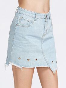 Blue Bleach Wash Eyelet Detail Asymmetric Denim Skirt