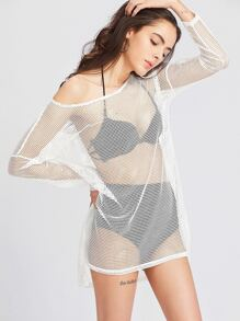 White High Low Eyelet Mesh Cover Up Top