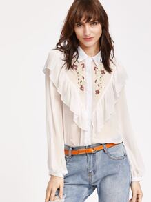 White Ruffle Detail Semi Sheer Embroidered Blouse