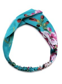 Green Floral Print Square Headband