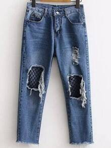 Blue Contrast Mesh Ripped Detail Jeans