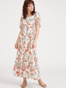 White Tropical Print Split Sleeve Ruffle Hem Dress
