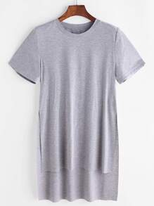 Heather Grey Slit High Low T-shirt