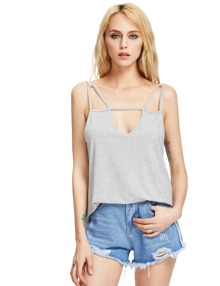 Heather Grey Backless Spaghetti Strap Camis Top