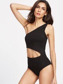 Black Bow Tie One Shoulder Cutout Bodysuit