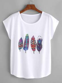 Graphic Print Dolman Sleeve T-shirt