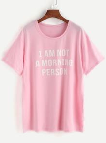 Pink Slogan Print T-shirt