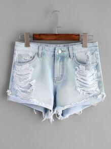 Blue Bleach Wash Distressed Denim Shorts