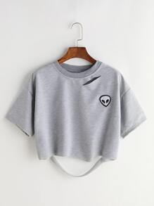Grey Alien Patch Ripped Crop T-shirt