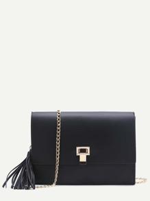 Black Flap Crossbaody Bag With Tassel