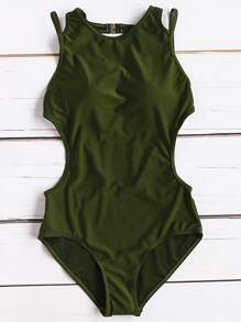 Army Green Side Cutout Sexy Monokini