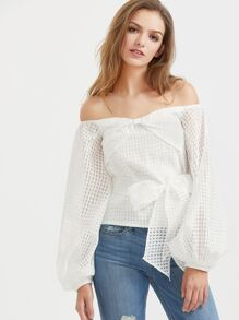 White Off The Shoulder Lantern Sleeve Belted Checkered Mesh Top