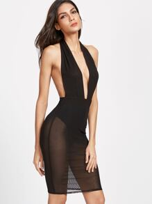 Black Plunge Halter Neck Backless Mesh Dress