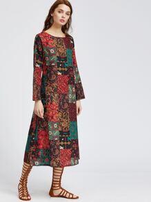 Multicolor Vintage Print Shift Dress