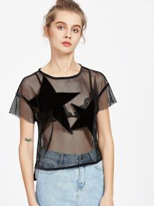 Black Velvet Star Applique Fishnet Top