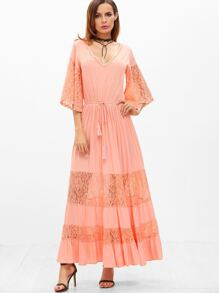 Pink Lace Insert Kimono Sleeve Drawstring Waist Tiered Dress