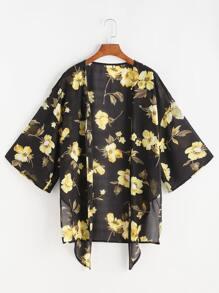 Flower Print Tie Front Semi Sheer Kimono